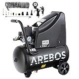 Arebos Druckluftkompressor | Kompressor | ölfrei | 1100W | 24 L | 8 bar | Ansaugleistung...